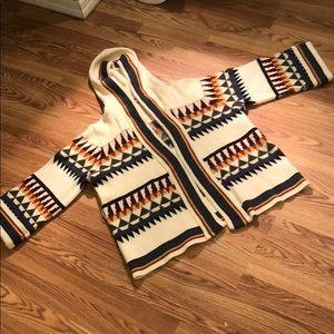 Vtg Wool Hooded Knit